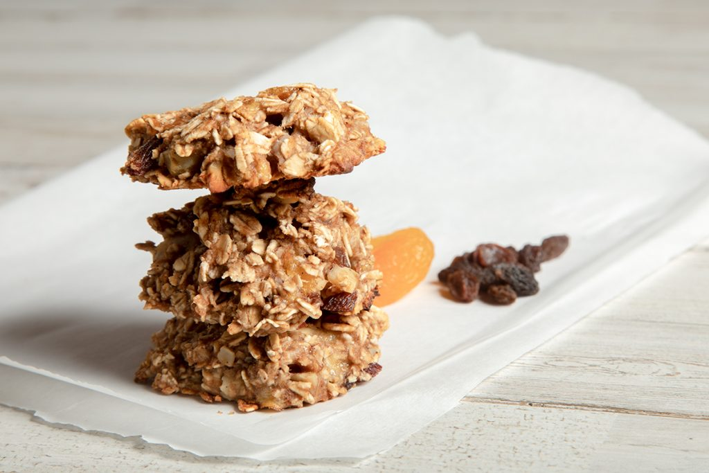 stack of healthy fruit and oatmeal cookies