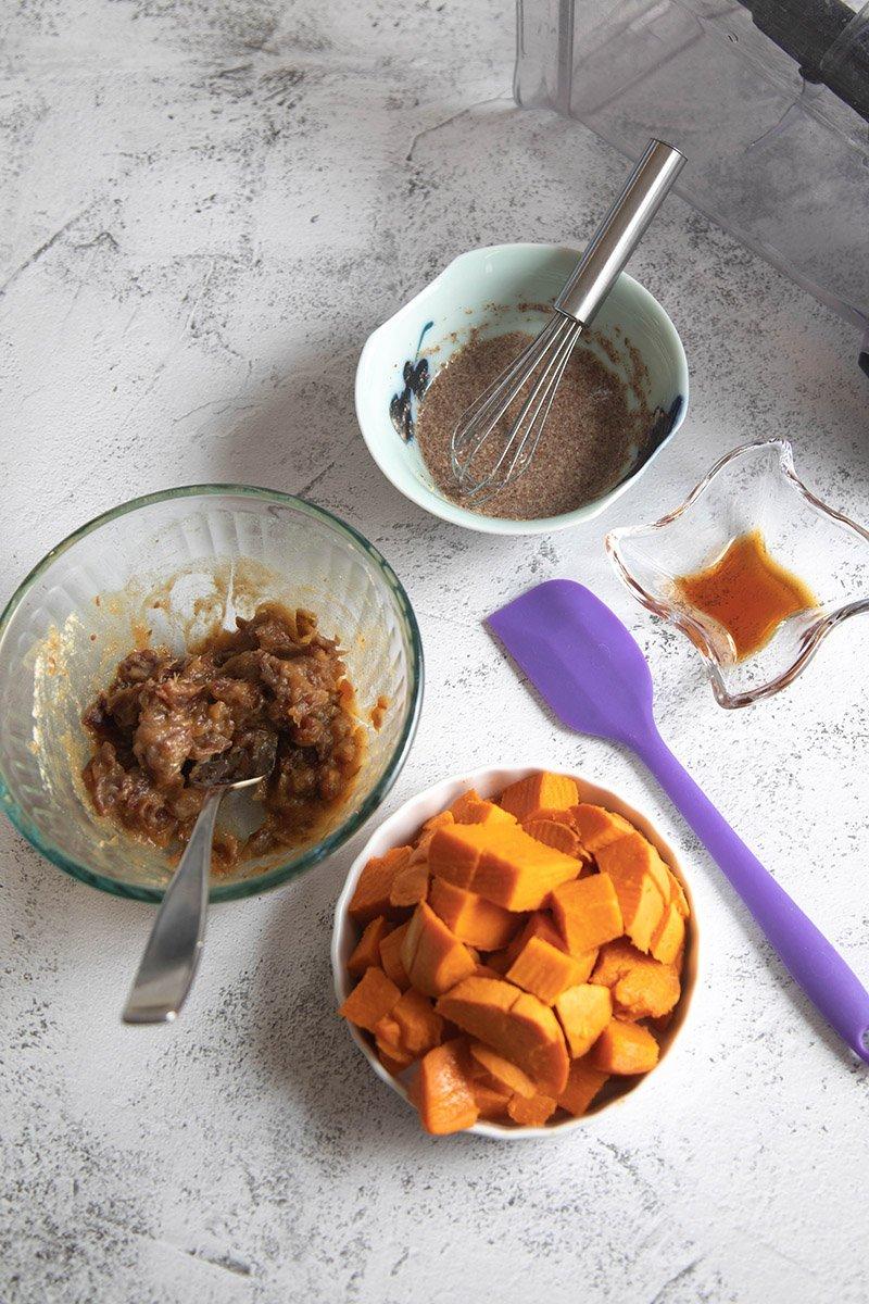 date mixture, flaxseed mixture, sweet potato and vanilla