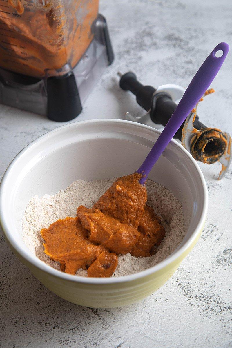 add sweet potato mix to dry mix
