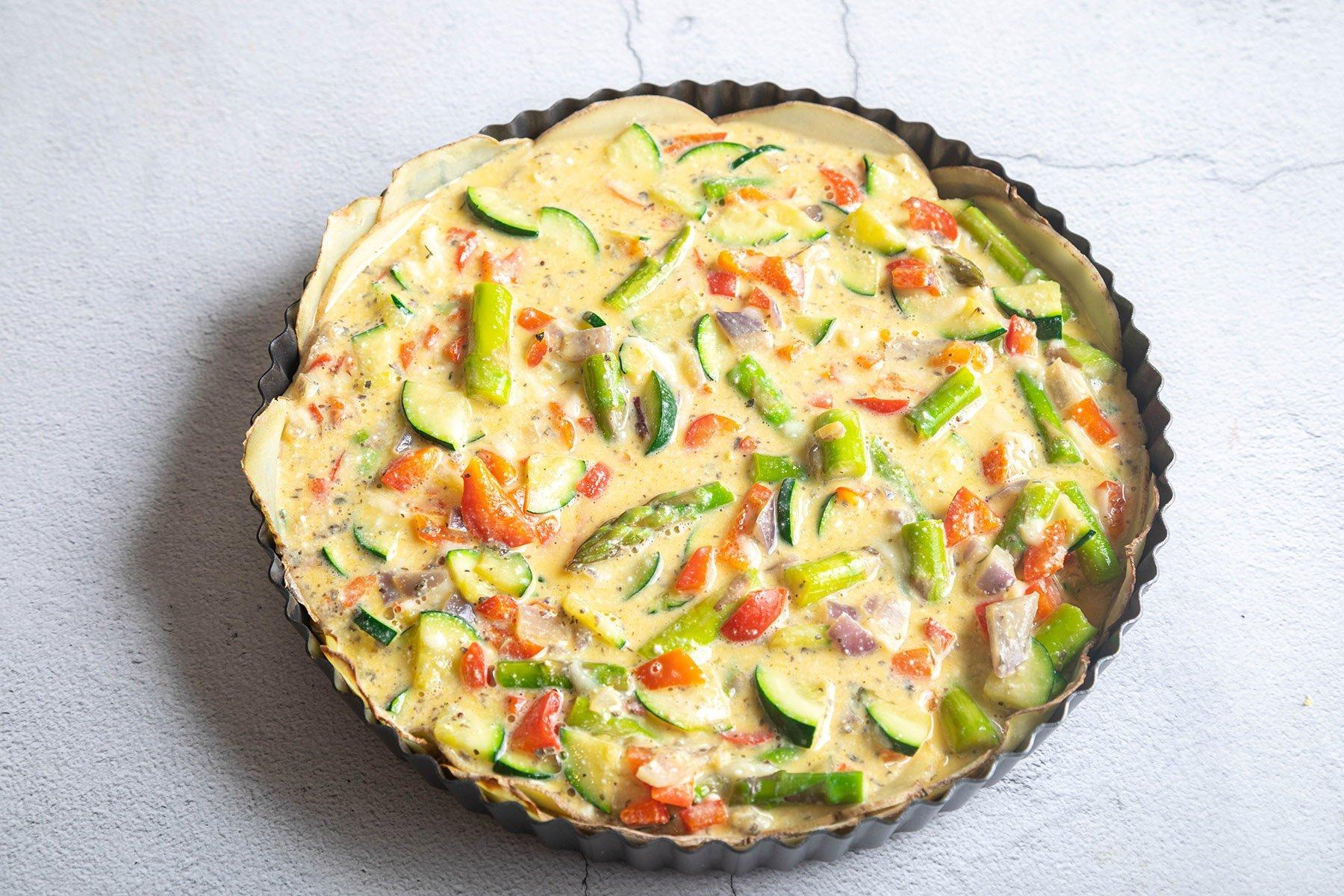 pour vegetable egg mixture into prepared pie pan