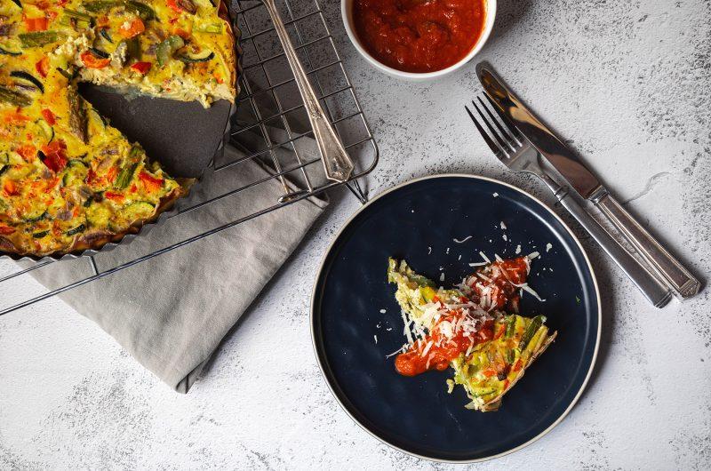 Mediterranean-Style Quiche with Potato Crust