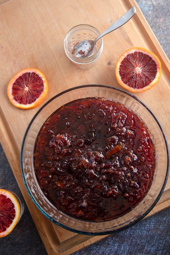 bowl of hot orange marmalade