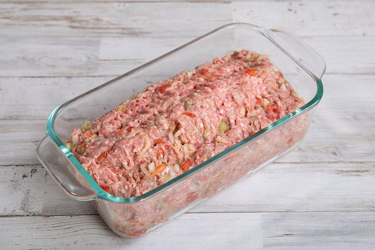 eggless meatloaf ingredients in baking dish