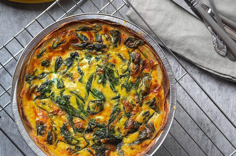 Spinach Cheese Quiche with Potato Crust