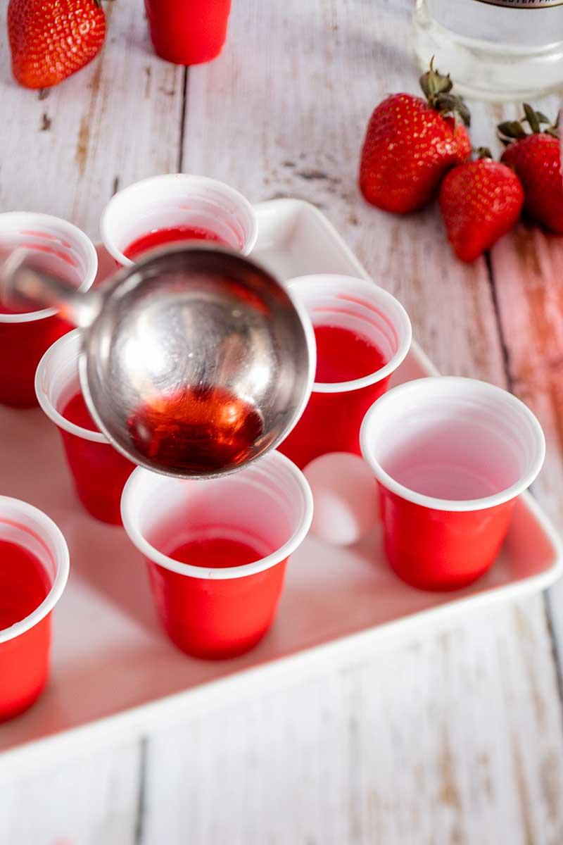 filling jello shot cups