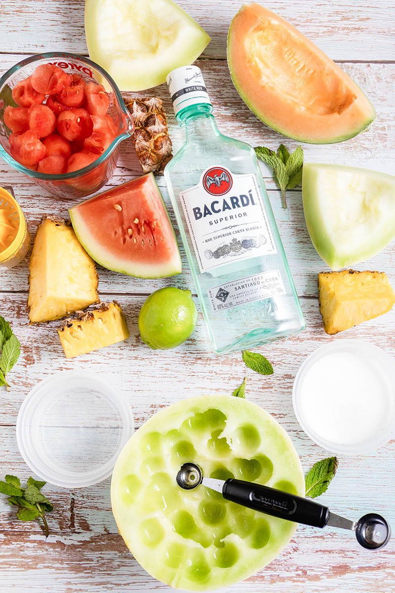 assorted fruit with bacardi rum