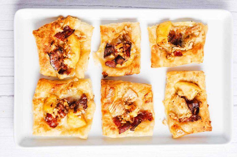 Air Fryer Peach Maple Bacon Brie Bites