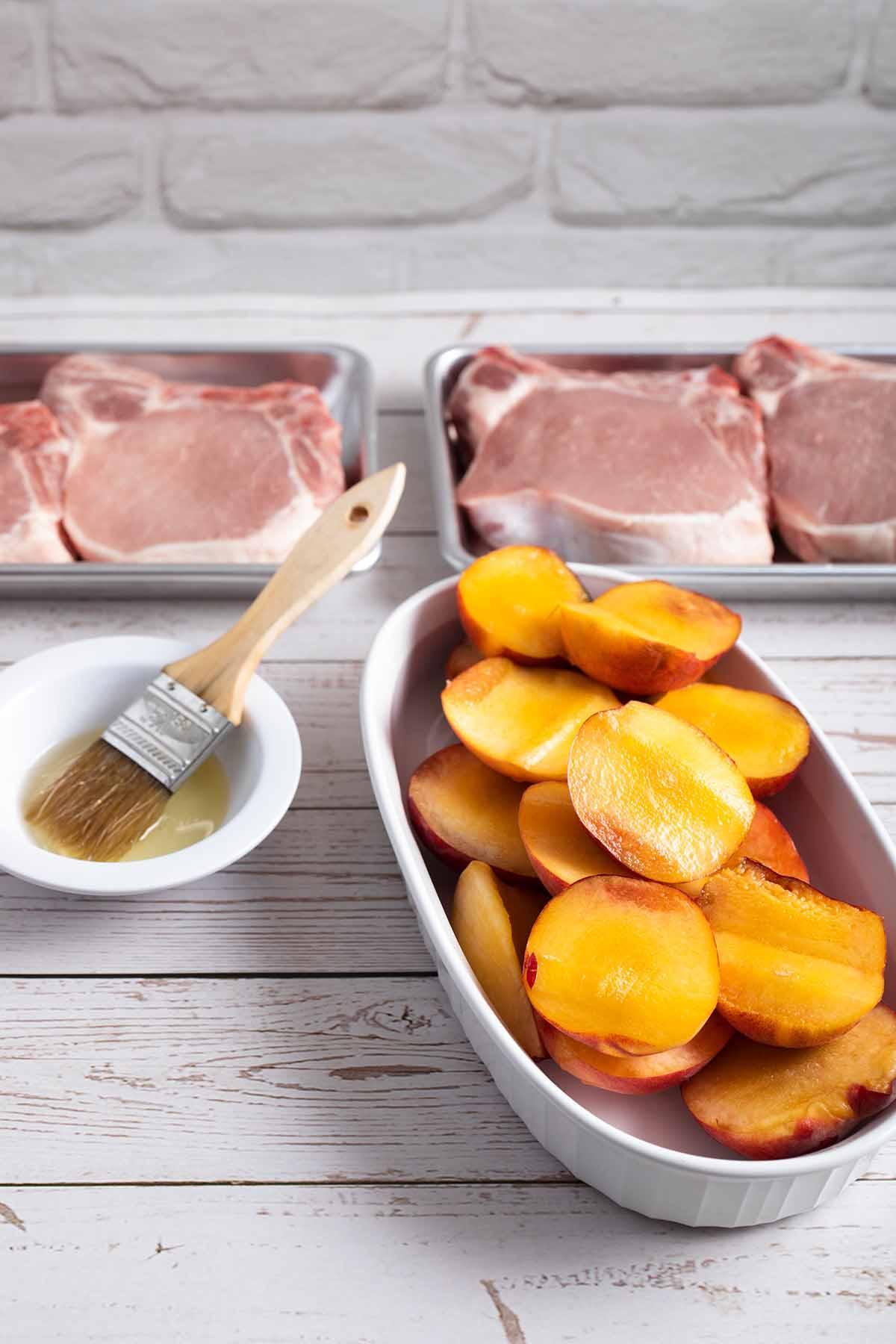 Prepare peaches for grilling