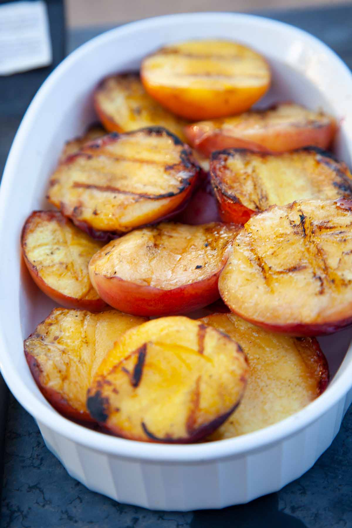 Finished grilled peaches