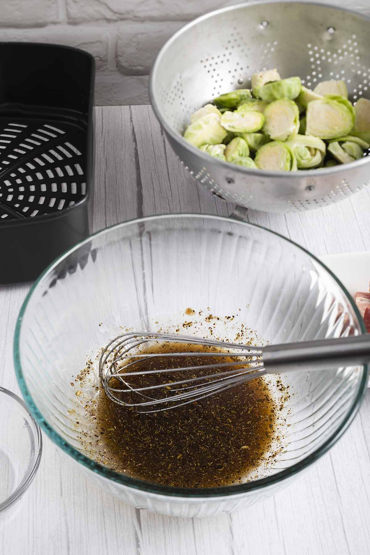 stir brussels sprouts sauce mix