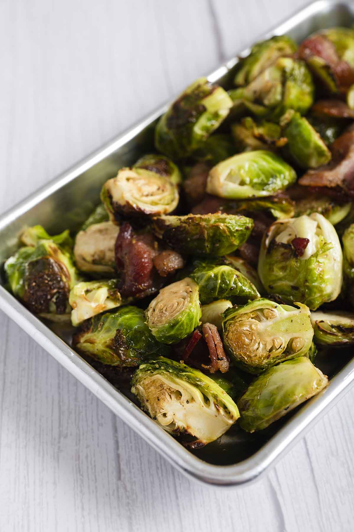 cooked air fryer brussels sprouts with bacon