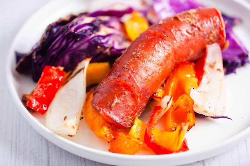 Air Fryer Smoked Sausage with Red Cabbage
