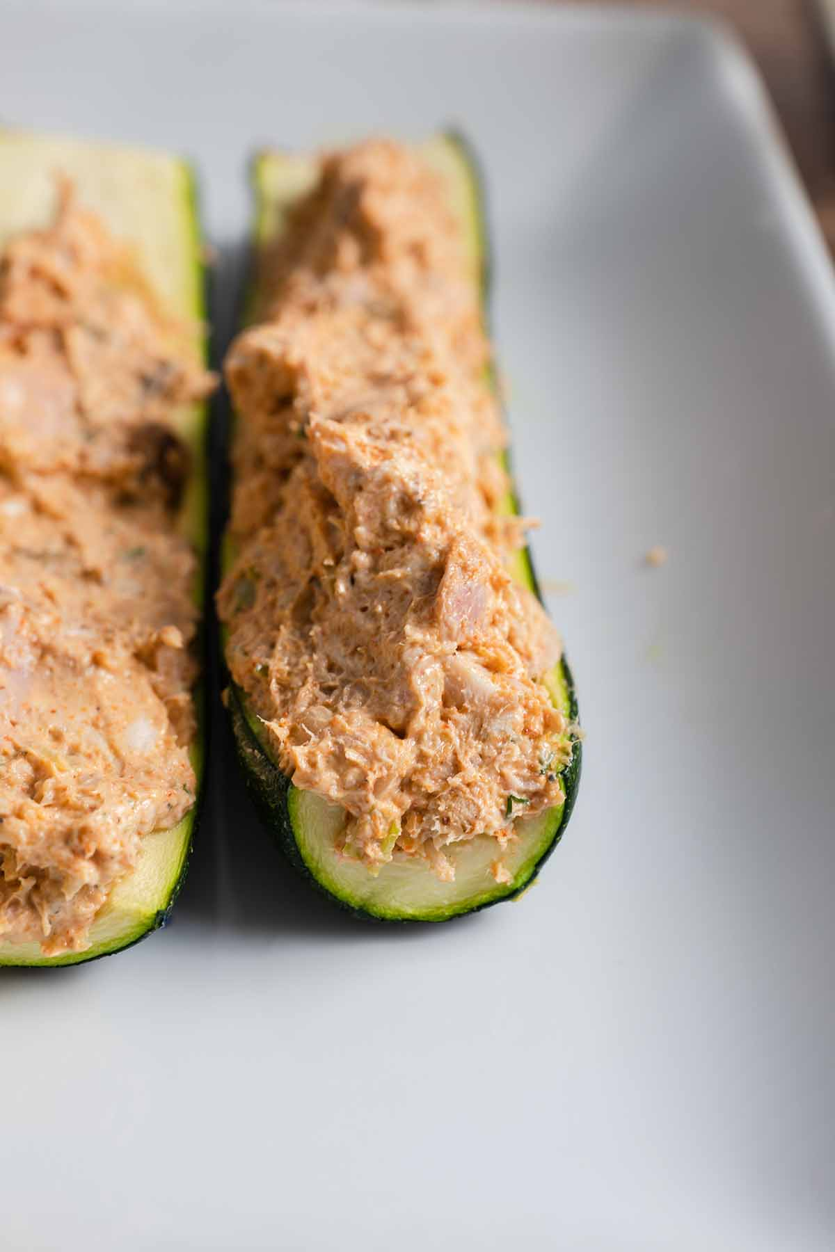 zucchini shells filled with mixture