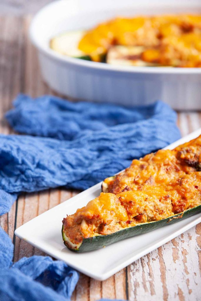 air fryer buffalo chicken zucchini boats  served on plate