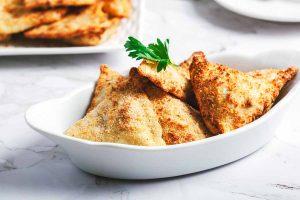 Plate of air fryer ravioli