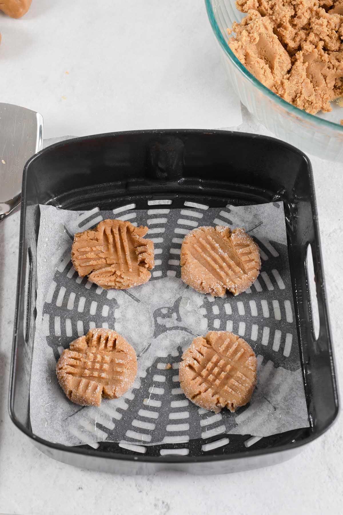 cookies in air fryer basket