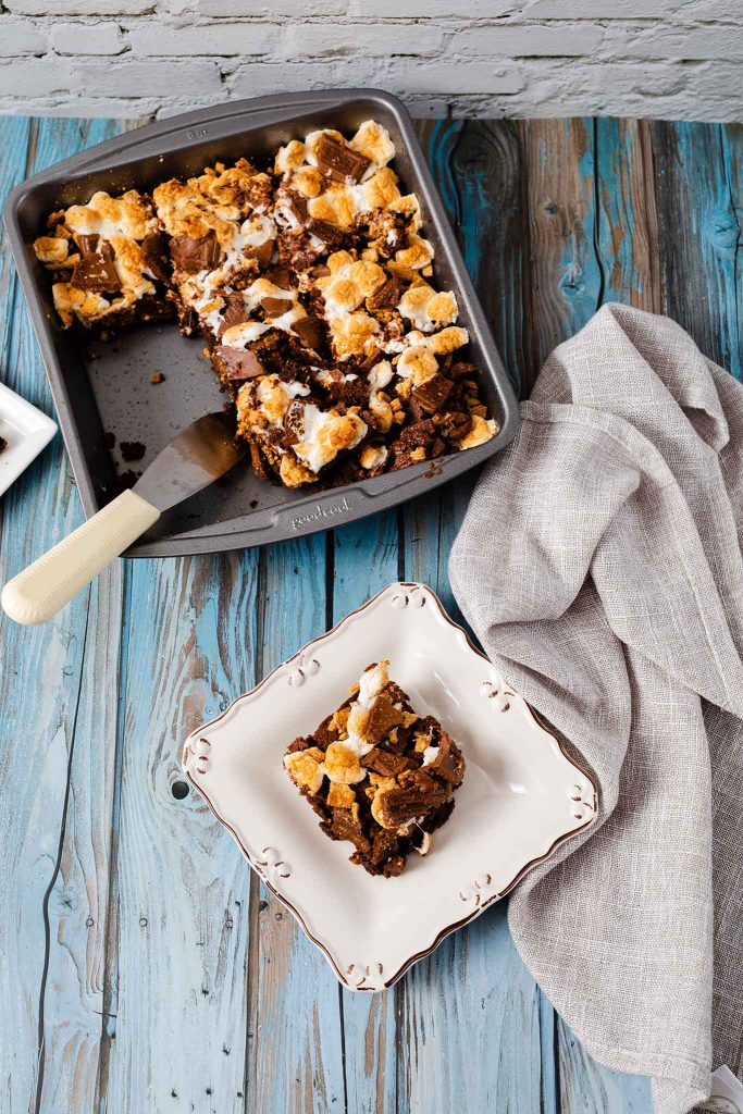 s'mores brownies on plate