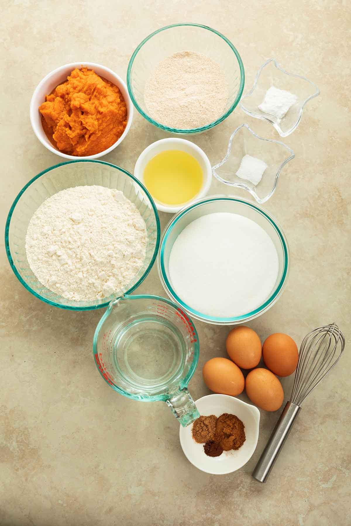 ingredients for pumpkin cream cheese muffins