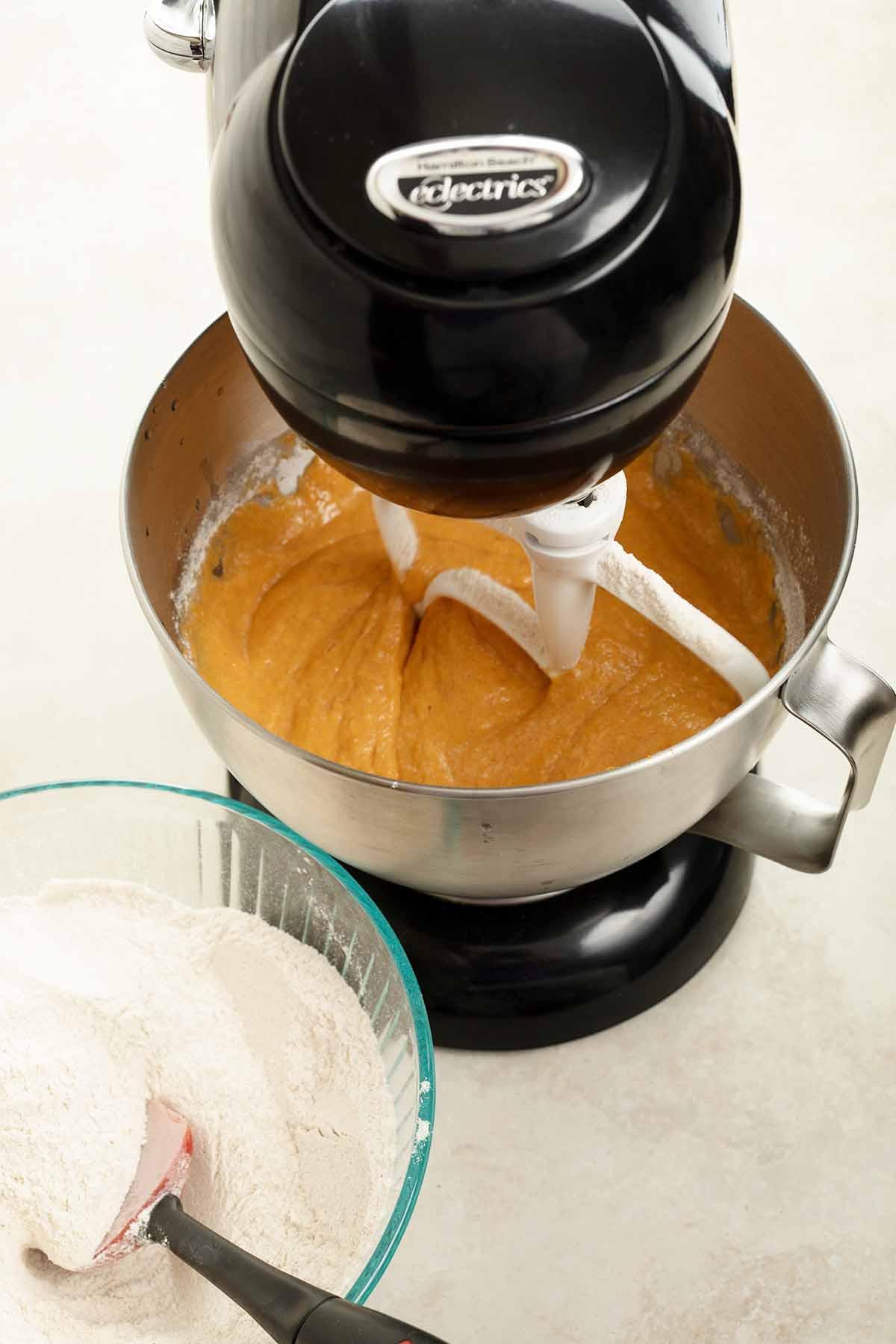 add flour to pumpkin mixture